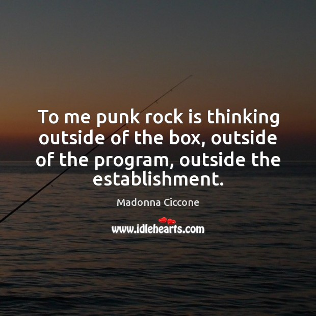 Image, To me punk rock is thinking outside of the box, outside of