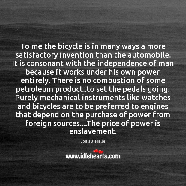 Image, To me the bicycle is in many ways a more satisfactory invention