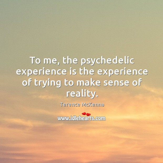 To me, the psychedelic experience is the experience of trying to make sense of reality. Image