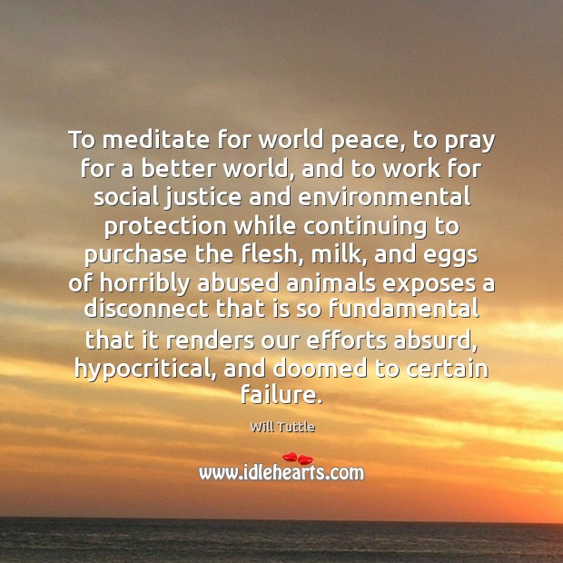 To meditate for world peace, to pray for a better world, and Failure Quotes Image