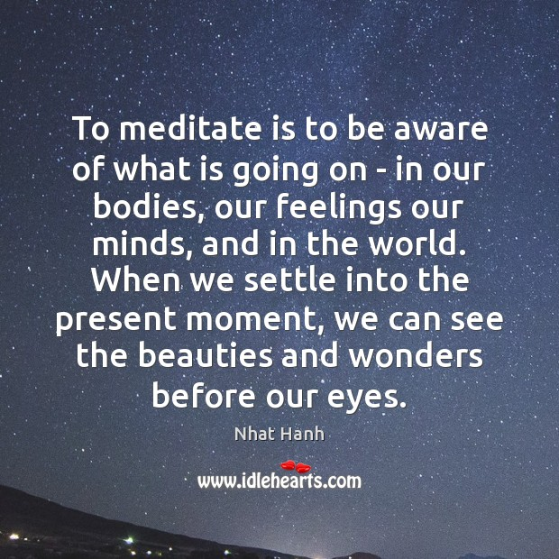 To meditate is to be aware of what is going on – Nhat Hanh Picture Quote
