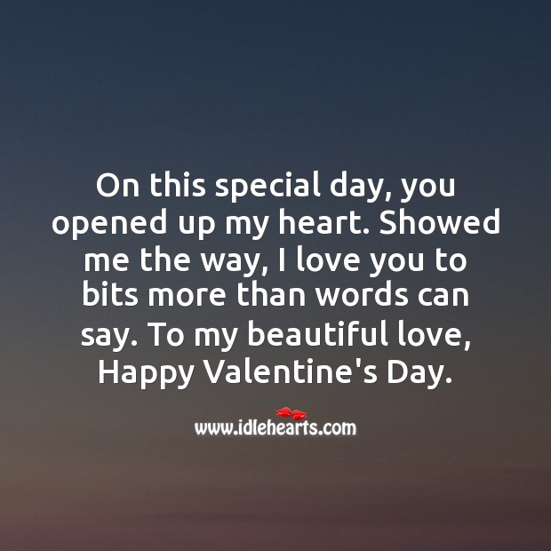 Valentine's Day Quotes image saying: To my beautiful love, Happy Valentine's Day.