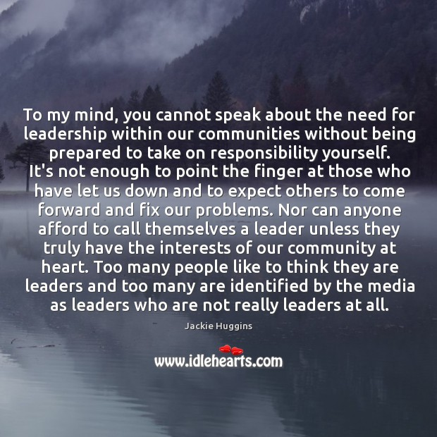 To my mind, you cannot speak about the need for leadership within Image