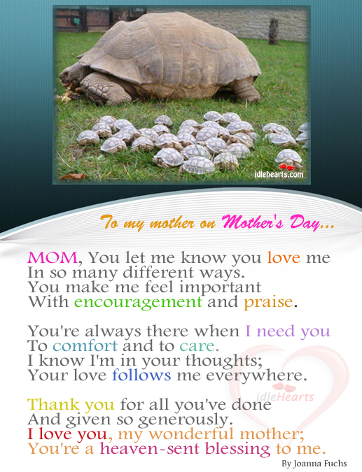 To My Mother On Mother's Day…
