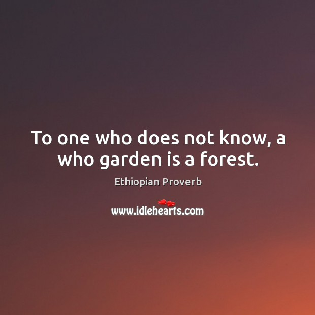 To one who does not know, a who garden is a forest. Ethiopian Proverbs Image
