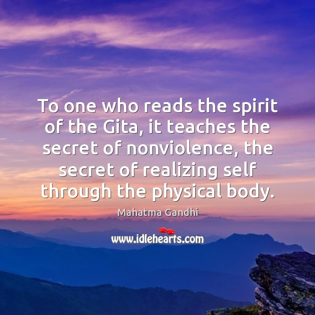 Image, To one who reads the spirit of the Gita, it teaches the