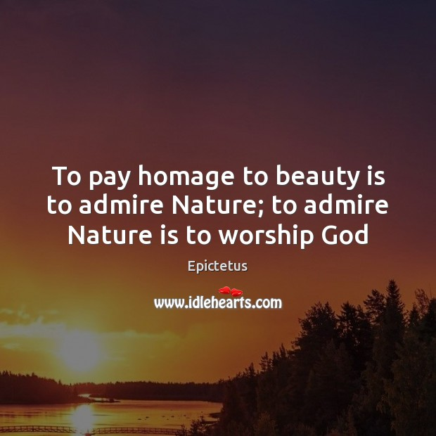 To pay homage to beauty is to admire Nature; to admire Nature is to worship God Image