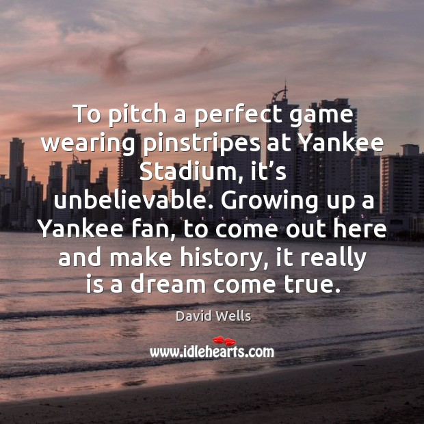 To pitch a perfect game wearing pinstripes at yankee stadium, it's unbelievable. Image