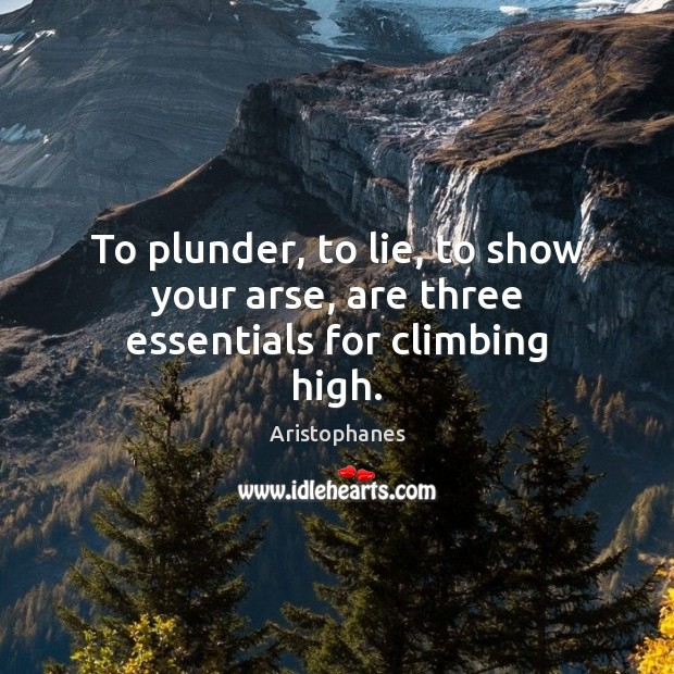 Image, To plunder, to lie, to show your arse, are three essentials for climbing high.