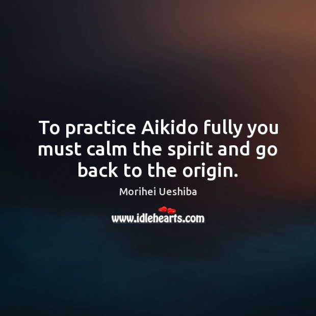 Image, To practice Aikido fully you must calm the spirit and go back to the origin.