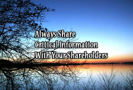 Always Share Critical Information With Your Shareholders