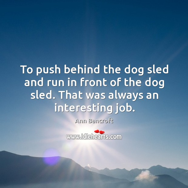 To push behind the dog sled and run in front of the dog sled. That was always an interesting job. Image