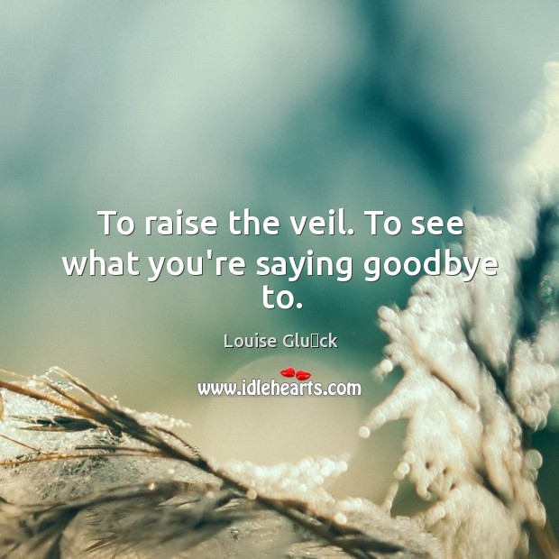 To raise the veil. To see what you're saying goodbye to. Image