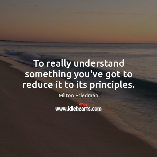 To really understand something you've got to reduce it to its principles. Milton Friedman Picture Quote