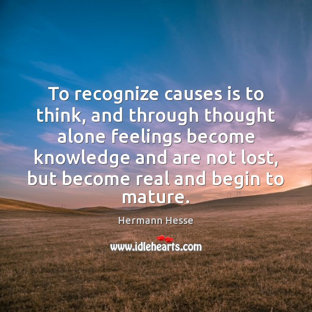Image, To recognize causes is to think, and through thought alone feelings become