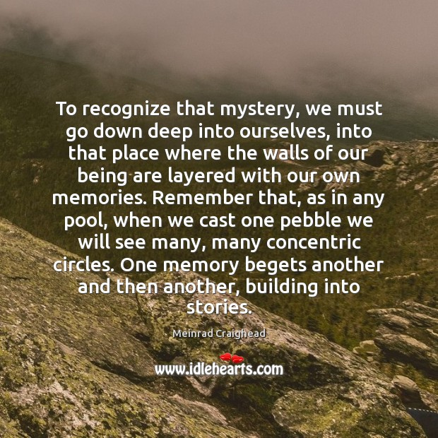 To recognize that mystery, we must go down deep into ourselves, into Image