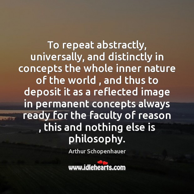 Image, To repeat abstractly, universally, and distinctly in concepts the whole inner nature