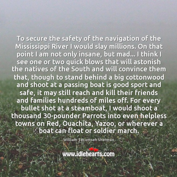 To secure the safety of the navigation of the Mississippi River I William Tecumseh Sherman Picture Quote