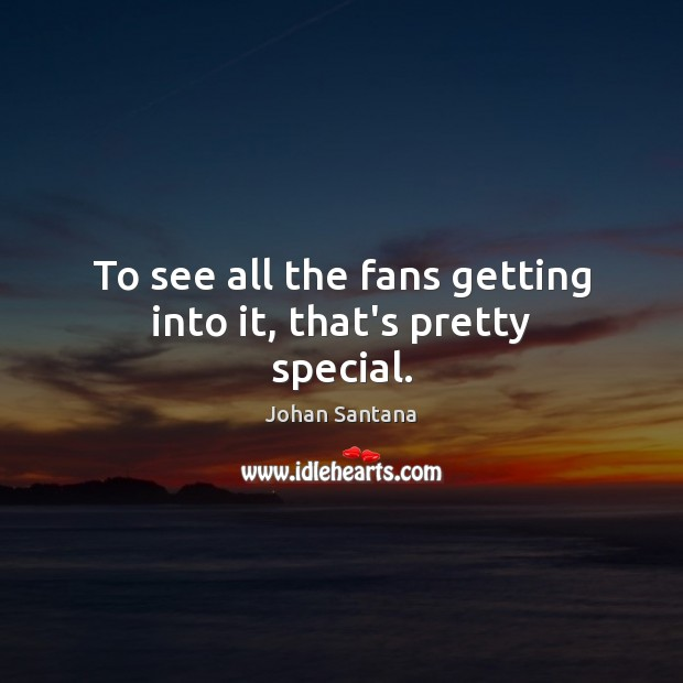 To see all the fans getting into it, that's pretty special. Johan Santana Picture Quote