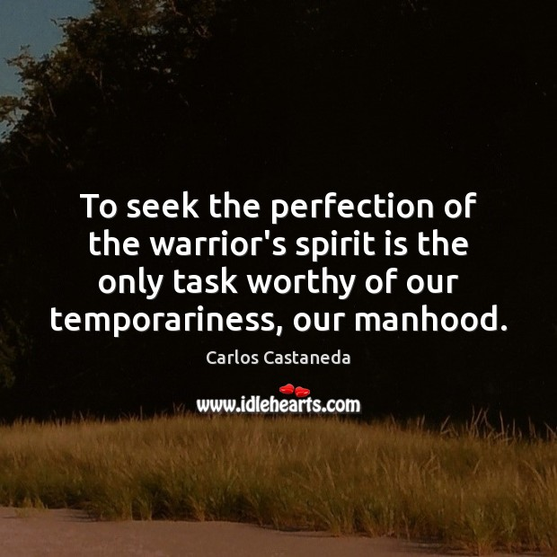 To seek the perfection of the warrior's spirit is the only task Image