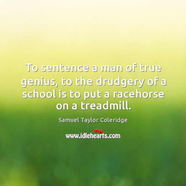 To sentence a man of true genius, to the drudgery of a school is to put a racehorse on a treadmill. Image