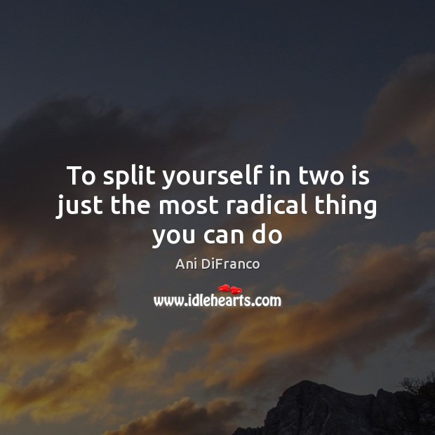 To split yourself in two is just the most radical thing you can do Image