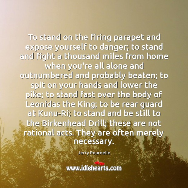 To stand on the firing parapet and expose yourself to danger; to Jerry Pournelle Picture Quote