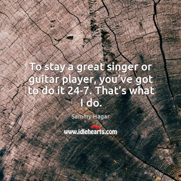 To stay a great singer or guitar player, you've got to do it 24-7. That's what I do. Sammy Hagar Picture Quote
