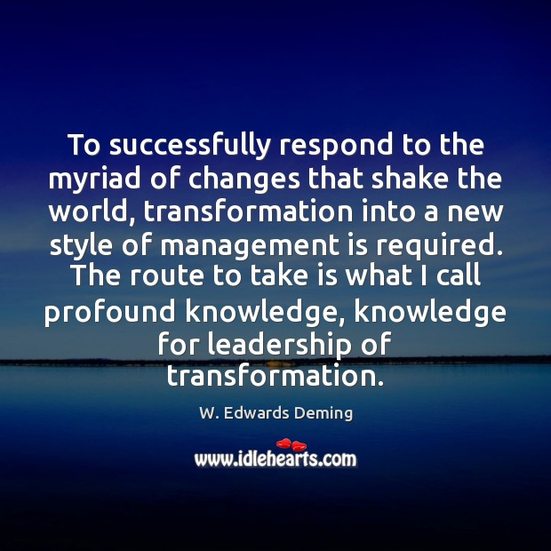 To successfully respond to the myriad of changes that shake the world, Management Quotes Image