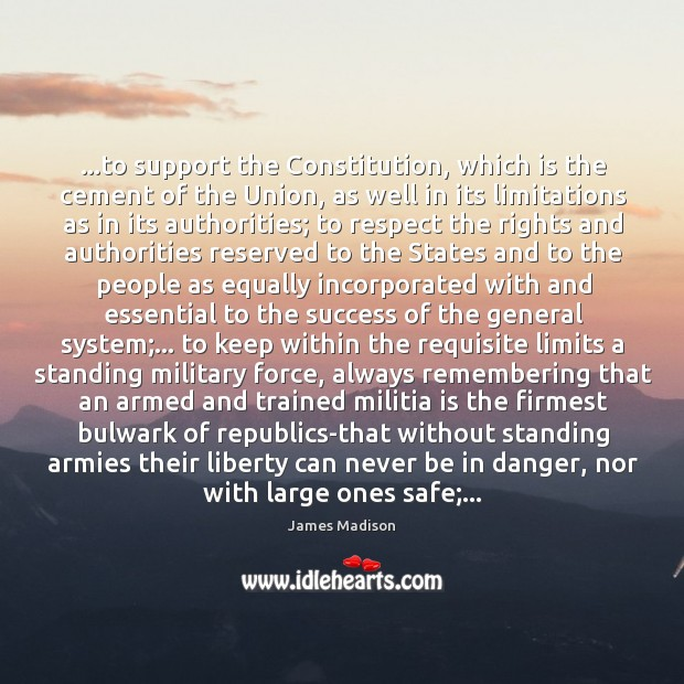 …to support the Constitution, which is the cement of the Union, as Image