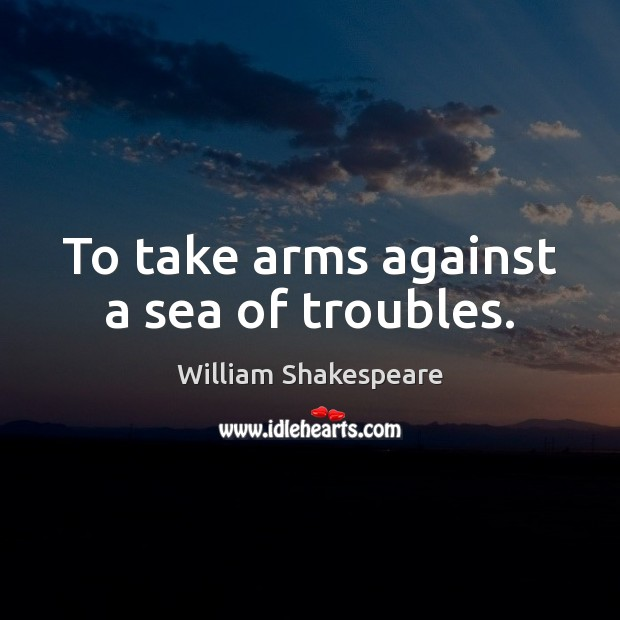 To take arms against a sea of troubles. Image
