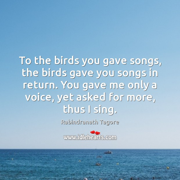 Image, To the birds you gave songs, the birds gave you songs in