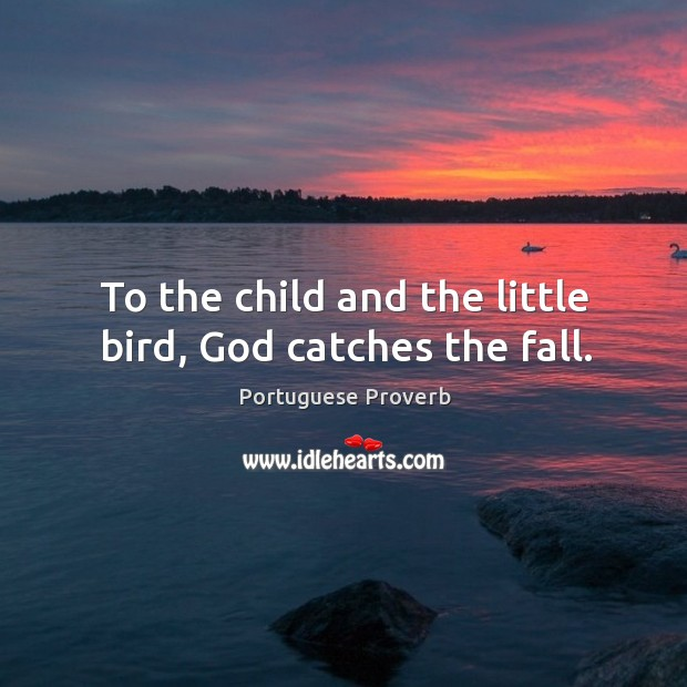 Image, To the child and the little bird, God catches the fall.