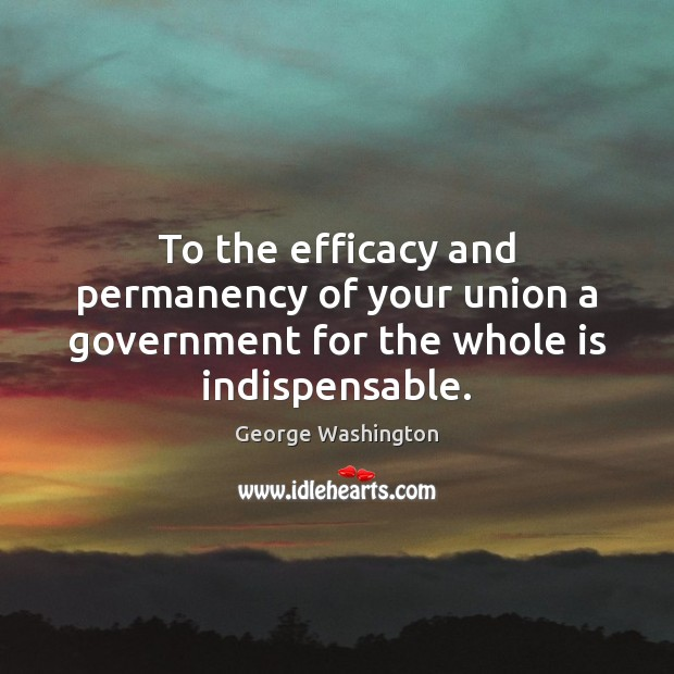 To the efficacy and permanency of your union a government for the whole is indispensable. George Washington Picture Quote
