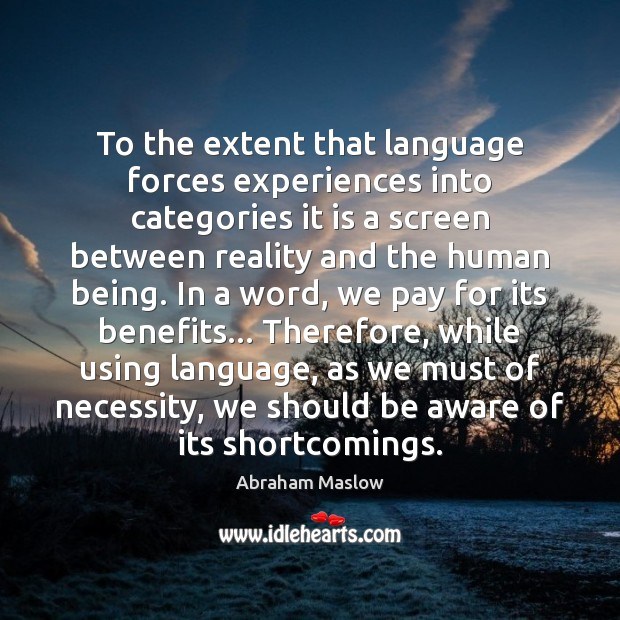Image, To the extent that language forces experiences into categories it is a