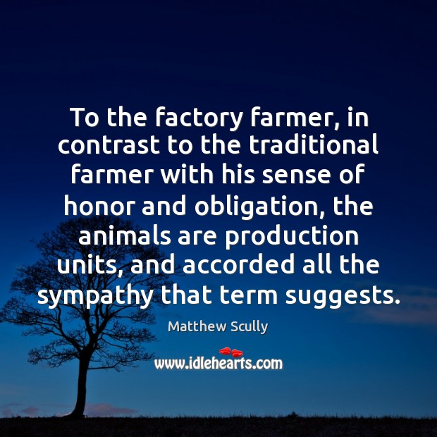 To the factory farmer, in contrast to the traditional farmer with his Matthew Scully Picture Quote
