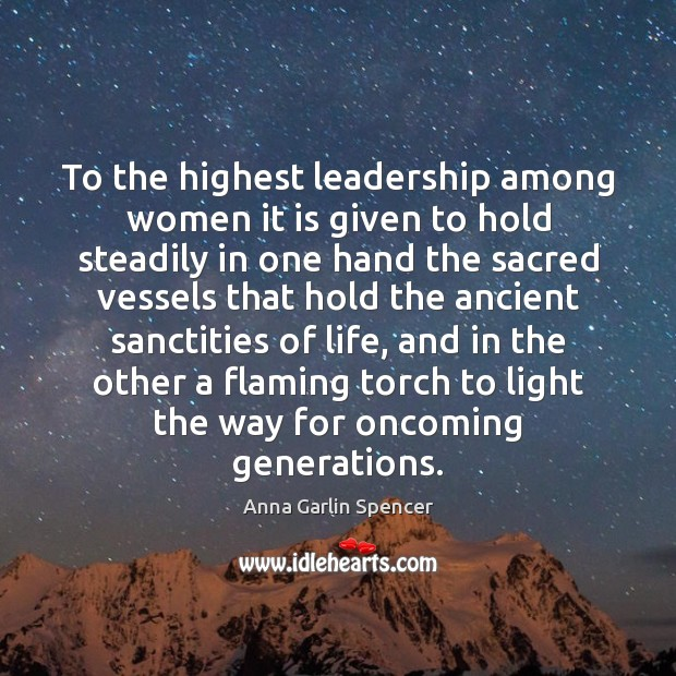 Image, To the highest leadership among women it is given to hold steadily