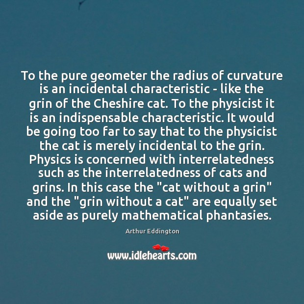 To the pure geometer the radius of curvature is an incidental characteristic Arthur Eddington Picture Quote