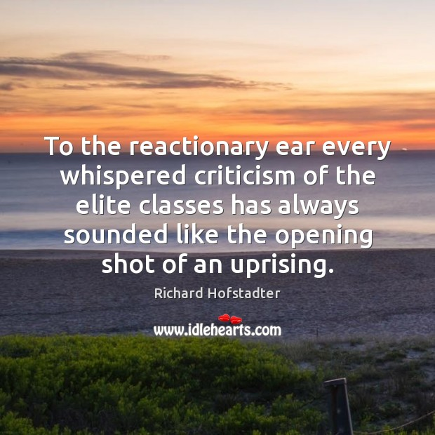 To the reactionary ear every whispered criticism of the elite classes has Richard Hofstadter Picture Quote