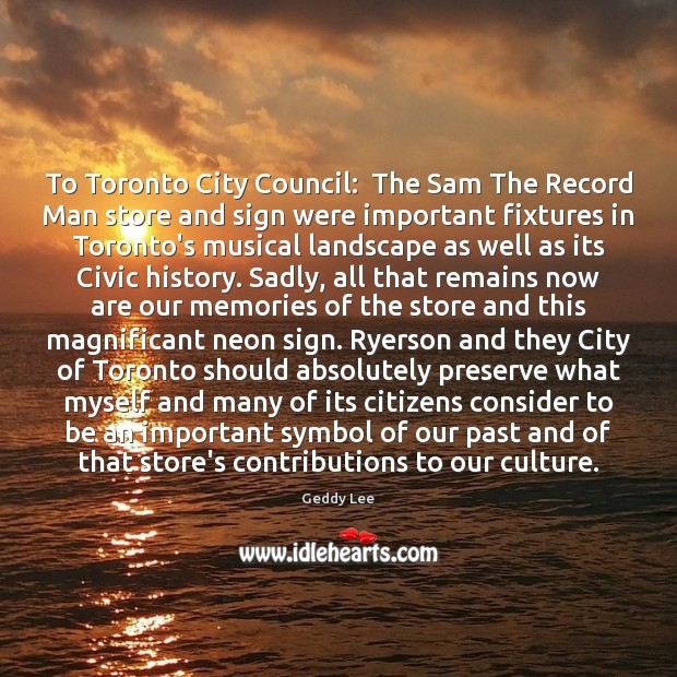 Image, To Toronto City Council:  The Sam The Record Man store and sign