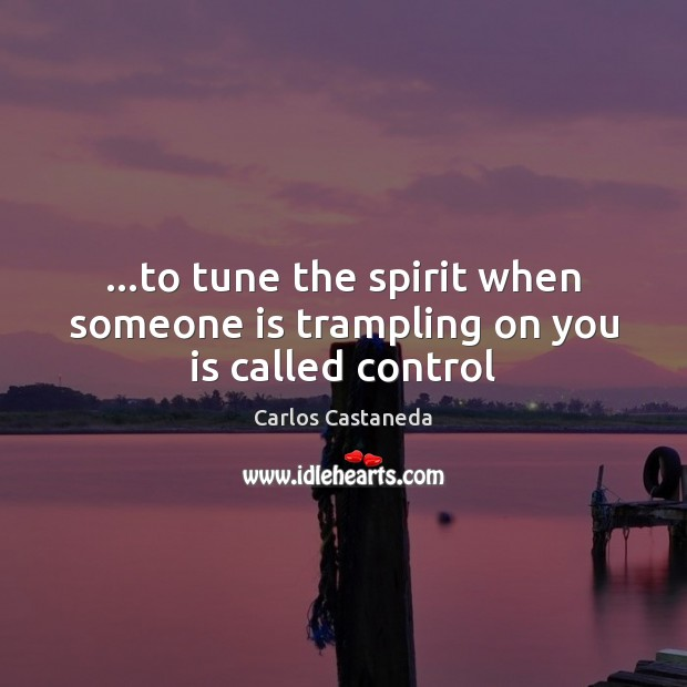 …to tune the spirit when someone is trampling on you is called control Image