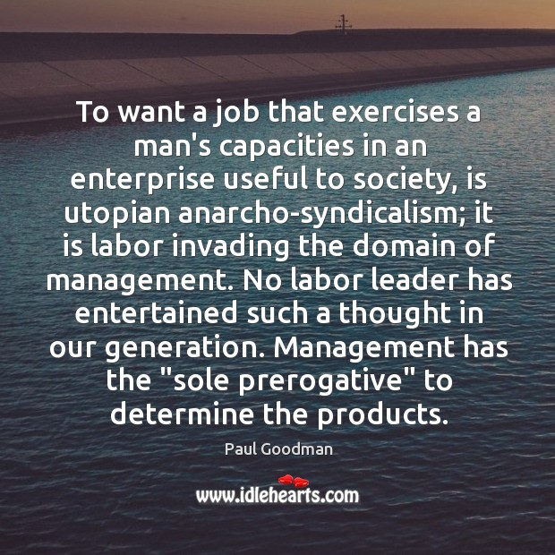 To want a job that exercises a man's capacities in an enterprise Paul Goodman Picture Quote