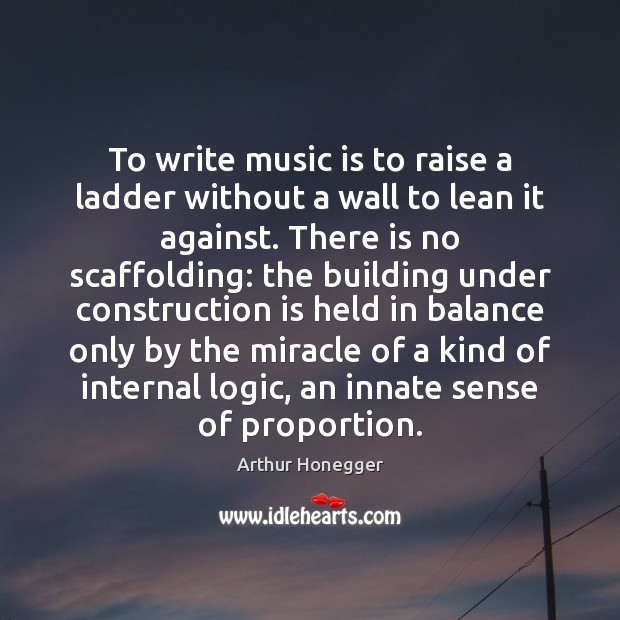 Image, To write music is to raise a ladder without a wall to