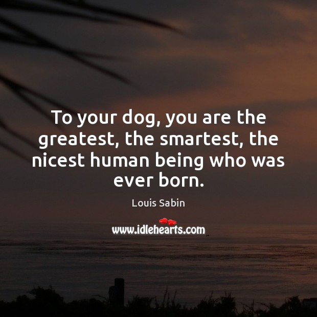 Image, To your dog, you are the greatest, the smartest, the nicest human being who was ever born.