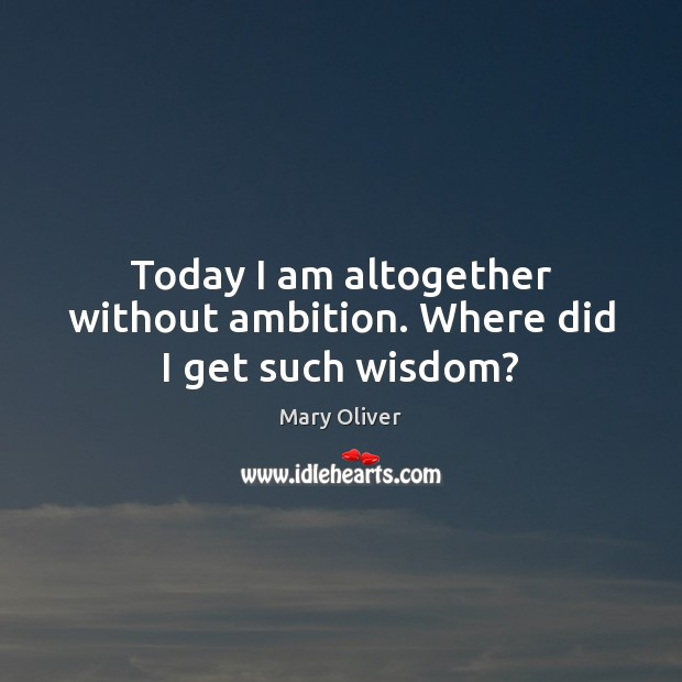 Today I am altogether without ambition. Where did I get such wisdom? Mary Oliver Picture Quote