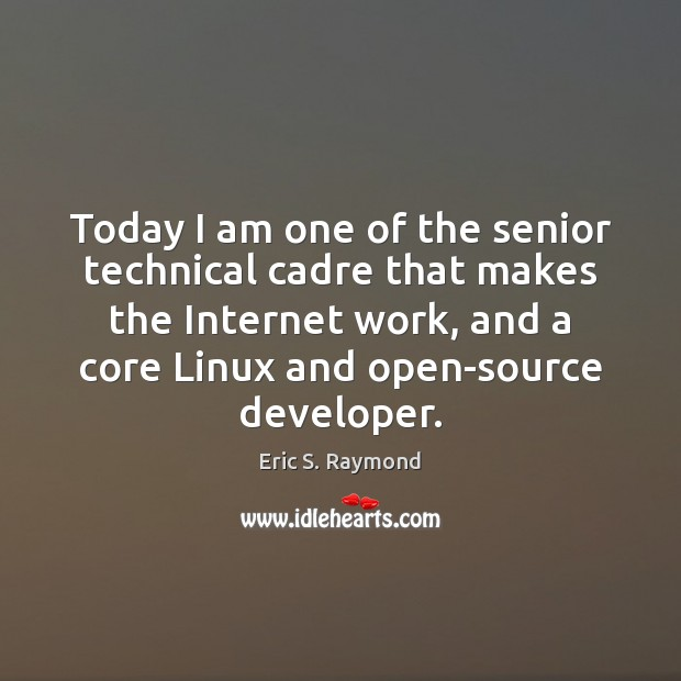 Today I am one of the senior technical cadre that makes the Eric S. Raymond Picture Quote