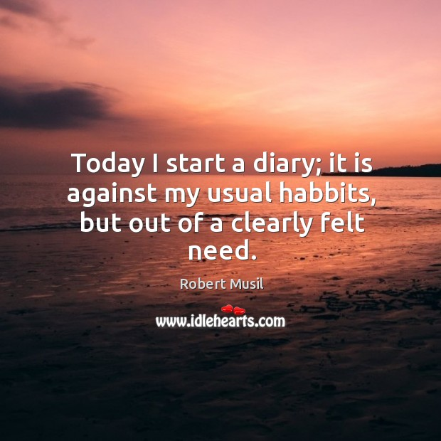 Today I start a diary; it is against my usual habbits, but out of a clearly felt need. Image