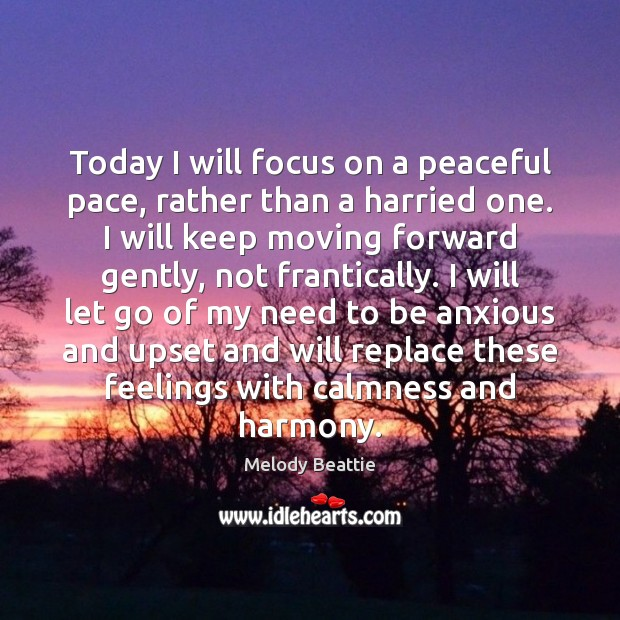 Image, Today I will focus on a peaceful pace, rather than a harried