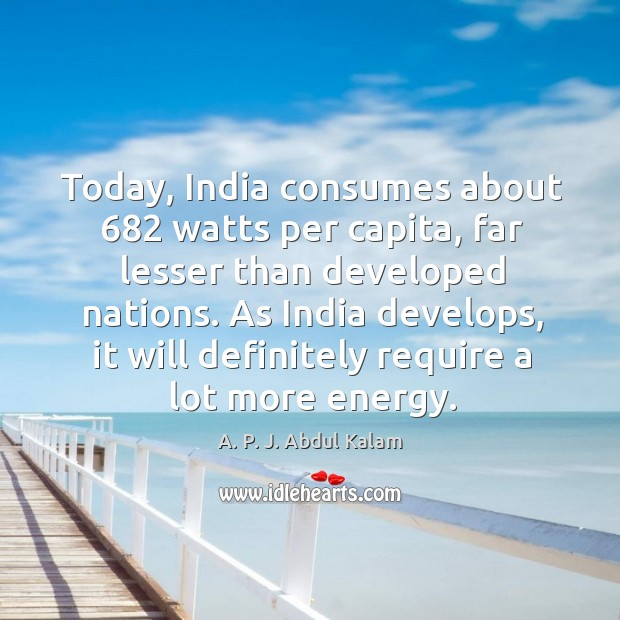 Image, Today, india consumes about 682 watts per capita