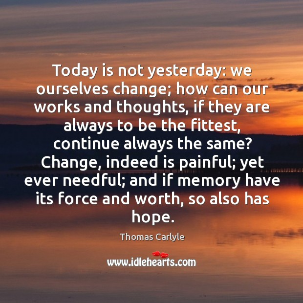 Today is not yesterday: we ourselves change; how can our works and Image